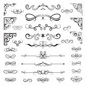 Vintage Calligraphic Borders. Floral Dividers And Corners For Decoration Designs Ornate Vector Eleme poster