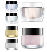 Glass Cosmetic Jar Mock Up. Round Glossy Cream Packaging. Makeup Products Clear Container. Vector Pa poster