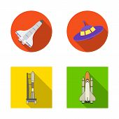 Bitmap Illustration Of Spaceship And Ship Sign. Set Of Spaceship And Station Stock Symbol For Web. poster