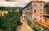Vintage Villa Outdoor Garden Of Villa Deste In Tivoli - Rome - Lazio - Italy . poster