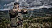 Guy Hunting Nature Environment. Hunting Weapon Gun Or Rifle. Masculine Hobby Activity. Hunting Targe poster