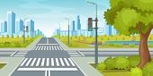 City Road With Crossroads Traffic Lights. City Highway Vector Illustration poster