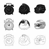 Isolated Object Of Dreams And Night Logo. Set Of Dreams And Bedroom Stock Bitmap Illustration. poster