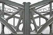image of girder  - Metal Girders on a Bridge Steel Girders On A Metal Truss Bridge - JPG