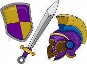 stock photo of hoplite  - Illustration of Gladiator Helmet Shield and Sword - JPG