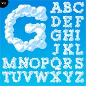 Vector illustration of cloud alphabet on a blue sky background. Font with serifs Uppercase