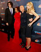 NEW YORK-SEP 11: (L-R) Judges Howard Stern, Mel B., Howie Mandel and Heidi Klum attend pre-show red