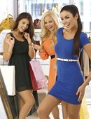 image of mini dress  - Happy girls shopping together - JPG