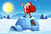 stock photo of igloo  - Illustration of Santa standing above an igloo on a white background - JPG
