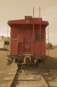 stock photo of caboose  - antique caboose in childrens park  - JPG