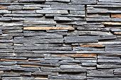 picture of stonewalled  - Stacked Slate Stone Wall as horizontal textured background - JPG