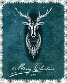 Merry Christmas Vintage Deer Greeting Card