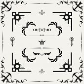 Vector Set Of Decorative Horizontal Floral Elements, Corners, Borders, Frame . Page Decoration.