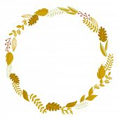 Autumn Floral Frame. Cute retro flowers arranged un a shape of the wreath perfect for wedding invita