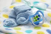 stock photo of nipple  - Layette for newborn baby boy - JPG