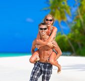 Cheerful Couple On Maldives