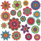 picture of henna tattoo  - Vector Collection of Doodle Style Flowers or Mandalas - JPG