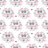 picture of incognito  - Seamless african geometric zebra lion incognito hipster illustration background pattern in vector - JPG