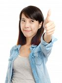 Asian woman praise with thumb up