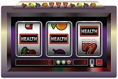 image of poker machine  - Illustration of a slot machine with three reels - JPG