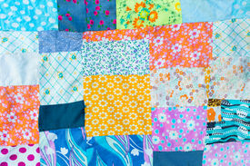 stock photo of scrappy  - Texture or background of the different pieces of fabric - JPG