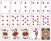 stock photo of joker  - Playing cards diamond suit - JPG