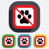 Dog paw sign icon. No Pets symbol.