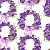Seamless pattern from wreath of purple crocus