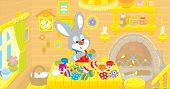 picture of cony  - Rabbit coloring Easter eggs to the holiday in his kitchen - JPG