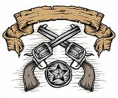picture of texas star  - A weathered banner of western guns star badge - JPG