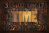 time word in wood type against random number background
