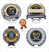 picture of laurel  - Anniversary golden labels with laurel wreath vector illustration - JPG