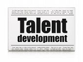 Education concept: newspaper headline Talent Development