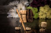 stock photo of midget  - Concept family making a excursion wine cork figures - JPG