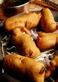 picture of rajasthani  - Top View of Makki Paneer Pakoda is a fritters from Rajasthan - JPG