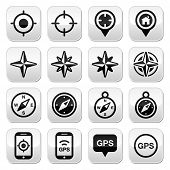 GPS navigation, wind rose, compass buttons set