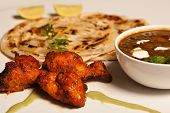 image of paneer  - Paratha with paneer masala and chicken kebab - JPG