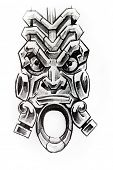 picture of indian totem pole  - Handmade tattoo sketch over white paper - JPG