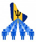 Lines of people with Barbados map flag vector illustration