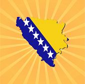 Bosnia map flag on sunburst vector illustration