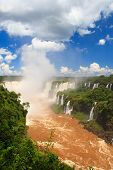Panoramic View Of Devil's Throat Of Iguazu Falls, Brazil, Argentina