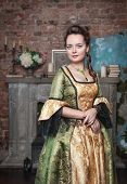 Beautiful Woman In Long Medieval Dress