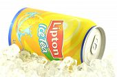 Lipton Ice Tea drink in a can isolated on white background