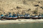 Fishing Boats on Coast in Mancora, Peru