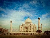 Vintage retro hipster style travel image of  Taj Mahal. Indian Symbol - India travel background with