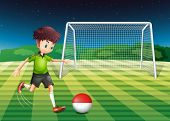 Illustration of a player kicking the ball with the flag of Indonesia