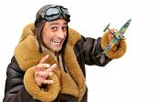 picture of fighter plane  - Fighter pilot with model plane isolated in white - JPG