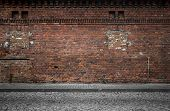 stock photo of building exterior  - Industrial background empty grunge urban street with warehouse brick wall - JPG