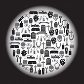 picture of hearse  - black funeral icons set in circle eps10 - JPG