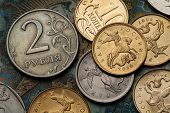 Постер, плакат: Coins of Russia Saint George killing the Dragon depicted in Russian kopek coins and Russian two rou
